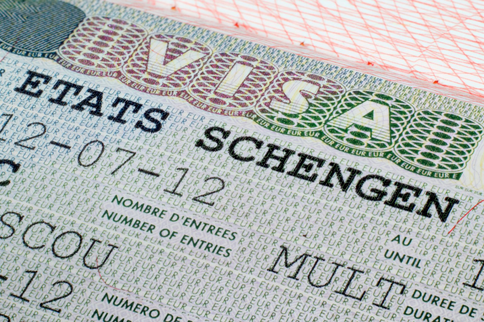 Close up Schengen visa in the passport